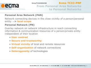 Ecma TC32-PNF From Personal Area Networks  to Personal Networks