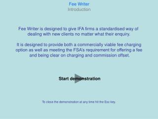 Fee Writer Introduction