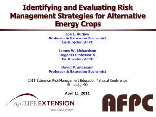 Identifying and Evaluating Risk Management Strategies for Alternative Energy Crops