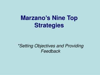 Marzano's Nine Top Strategies