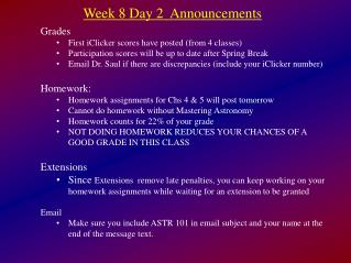 Week 8 Day 2  Announcements