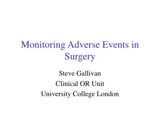 Monitoring Adverse Events in Surgery