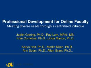 Professional Development for Online Faculty