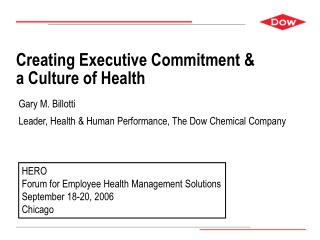Creating Executive Commitment   a Culture of Health