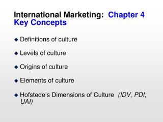 International Marketing: Chapter 4 Key Concepts