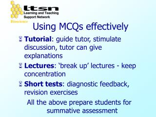 Using MCQs effectively