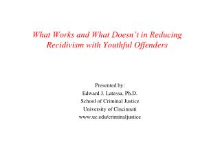 What Works and What Doesn't in Reducing Recidivism with Youthful Offenders