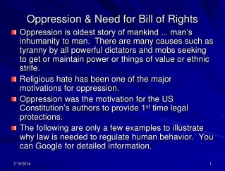 Oppression & Need for Bill of Rights