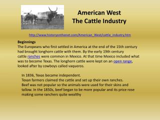 American  West The  Cattle  Industry