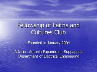 Fellowship of Faiths and Cultures Club