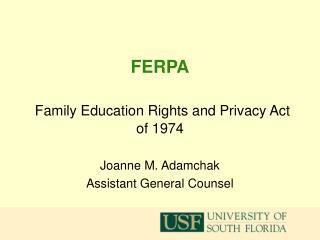 FERPA Family Education Rights and Privacy Act of 1974