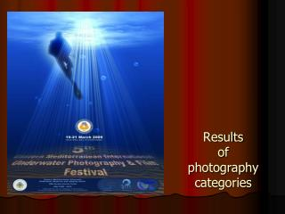 Results of photography  categories