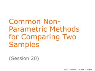 Common Non-Parametric Methods for Comparing Two Samples