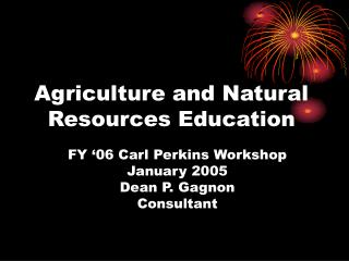 Agriculture and Natural Resources Education