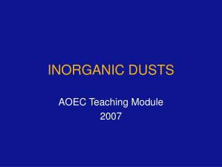 INORGANIC DUSTS