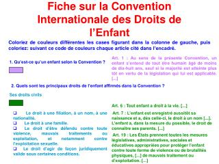 Fiche sur la Convention Internationale des Droits de l'Enfant
