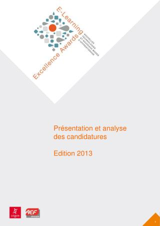 Présentation et analyse  des candidatures Edition 2013
