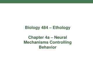 Biology 484 – Ethology Chapter 4a – Neural Mechanisms Controlling Behavior