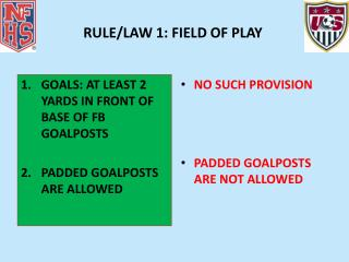 RULE/LAW 1: FIELD OF PLAY