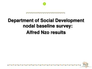 Department of Social Development nodal baseline survey: Alfred Nzo results