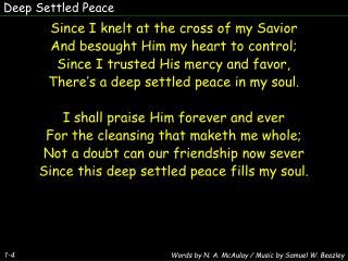 Deep Settled Peace