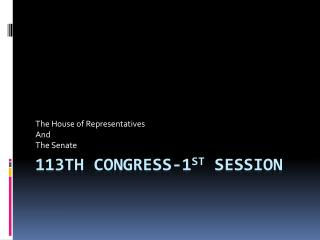 113th  Congress-1 st  session