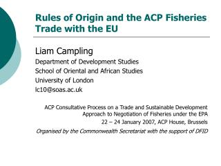 Rules of Origin and the ACP Fisheries Trade with the EU