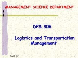MANAGEMENT SCIENCE DEPARTMENT