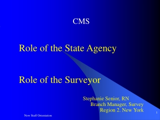 CMS   Role of the State Agency   Role of the Surveyor      Stephanie Senior, RN Branch Manager, Survey Region 2. New Yo