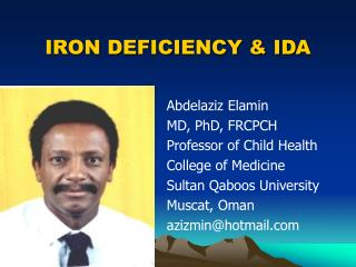 IRON DEFICIENCY & IDA