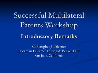 Successful Multilateral Patents Workshop