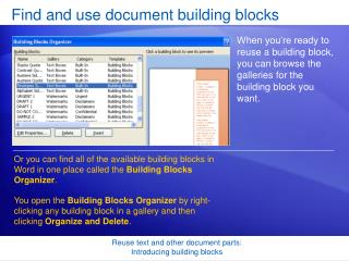 Find and use document building blocks