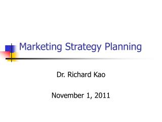 Marketing Strategy Planning