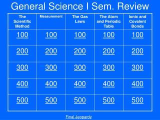 General Science I Sem. Review