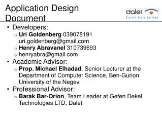 Application  Design Document