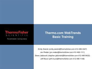 Thermo.com WebTrends Basic Training