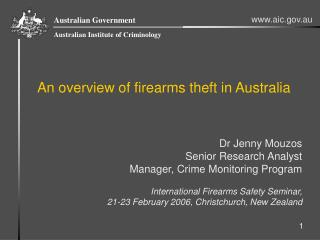 An overview of firearms theft in Australia