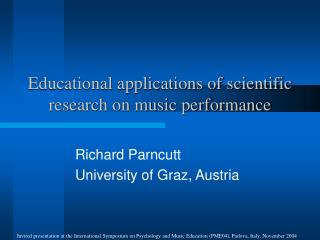 Educational applications of scientific research on music performance