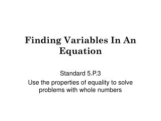 Finding Variables In An Equation