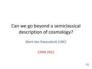 Can we go beyond a  semiclassical  description of cosmology?