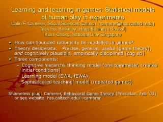 How can bounded rationality be modelled in games?
