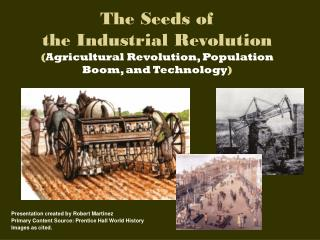 The Seeds of  the Industrial Revolution ( Agricultural Revolution, Population Boom, and Technology )