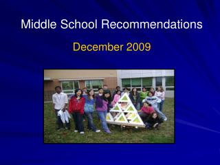 Middle School Recommendations December 2009