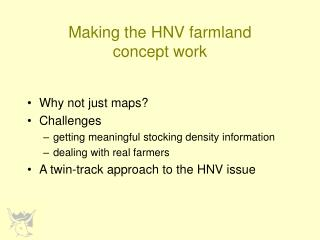 Making the HNV farmland concept work
