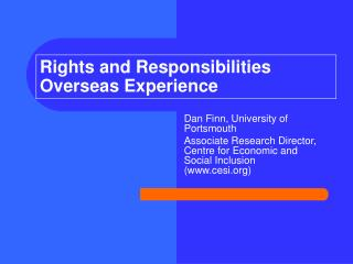 Rights and Responsibilities Overseas Experience