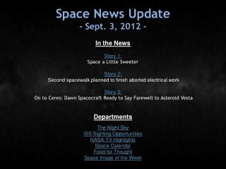 Space News Update - Sept. 3, 2012 -