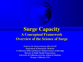 Surge Capacity A Conceptual Framework Overview of the Science of Surge