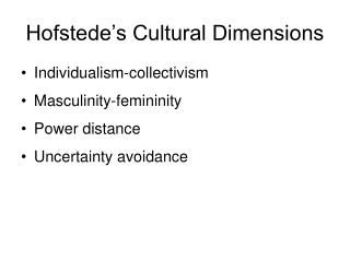 Hofstede's Cultural Dimensions