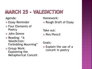 March 25 -  Valediction