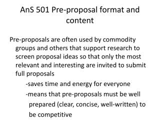 AnS  501 Pre-proposal format and content